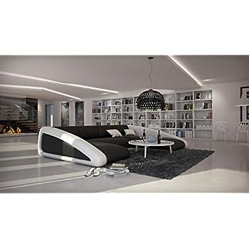 SAM® Sofa Garnitur schwarz / schwarz / weiß Wohnlandschaft, 205 x ...
