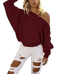 Mujer Suéter Jersey de Punto de Cuello Barco Suelto Batwing Mangas Largas Camiseta Tops