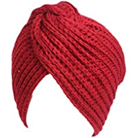 AEGKH Frauen Winter Warm Stricken Turban Kreuz Twist Arabisches Haar Wrap Solide Casual & Mützen Hut Kappe Stricken Turban Kreuz