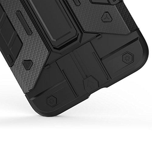 iPhone 7 Plus hüll,Lantier Multifunktions Rüstung Design Slim Fit Anti Drop leichten Multilayer Combo Defender Schutzhülle mit Kickstand und Kartenfach für iPhone 7 Plus 5,5 Zoll Rot+Gelb Cool Armor Black