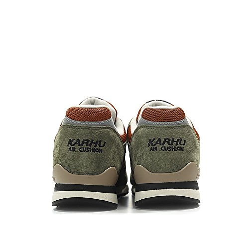 Karhu Sneaker Synchron Classic in Suede Verde e Mesh Arancio Verde
