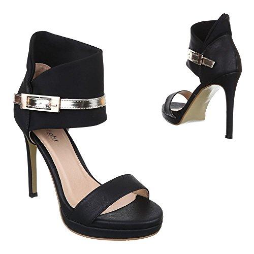 Damen Schuhe, C18160, SANDALETTEN HIGH HEELS STILETTO Schwarz