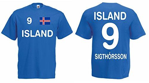 Island EM 2016 Trikot Sigthorsson Fanshirt T-Shirt|blau-L