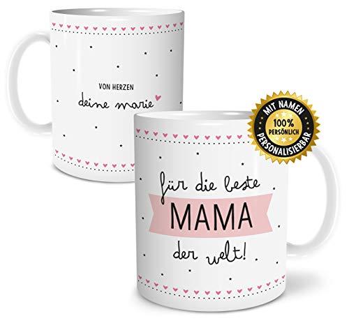 OWLBOOK Beste Mama große Kaffee-Tasse mit Namen personalisiert im Geschenkkarton schöne Geschenkidee Geschenke für Deine Mutti