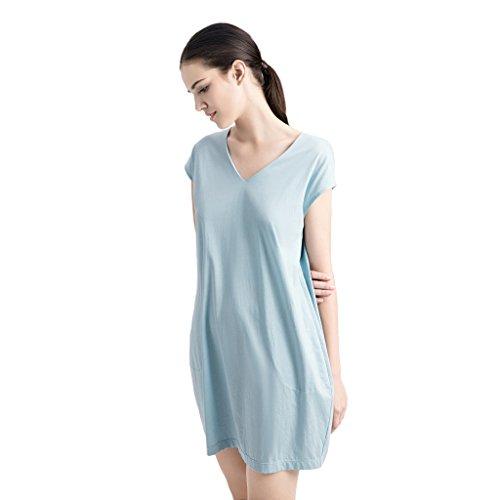 Sommer Dame Cotton Sleeping Rock Sexy V-Ausschnitt Pyjamas Home Bekleidung Blau