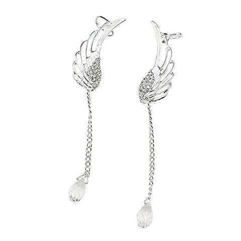 Women's Angel Wing Silver Plated Crystal Drop Dangle Earrings Ear Cuff Stud Clip (Ear Stud)