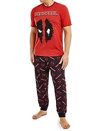 Marvel Pijama Hombre, Pijamas Hombre con Diseño Deadpool, Conjunto Pijama Hombre Algodon Camiseta Manga Corta y Pantalón Largo, Merchandising Oficial Regalos Hombre