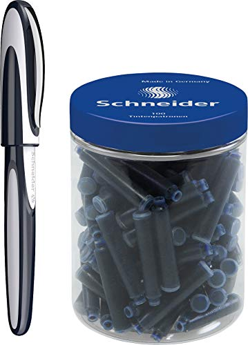 Schneider Ray - Penna roller ricaricabile, con cartucce d'inchiostro standard, adatta per destrorsi e mancini, Tiefblau/Hellgrau + 100 Patronen, 1