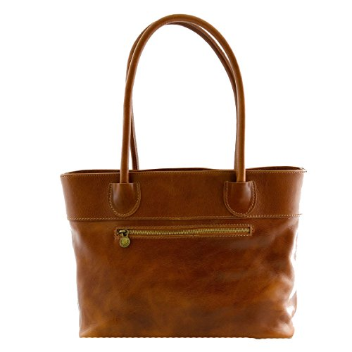 Borsa Donna A Spalla In Pelle Con Scomparto Interno A Zip Colore Cognac - Pelletteria Toscana Made In Italy - Borsa Donna
