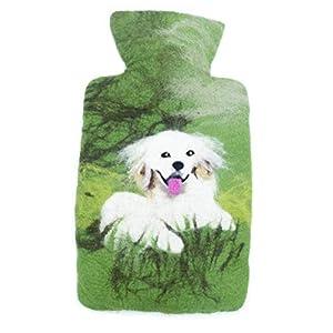 feelz – Wärmflasche gefilzt grün mit Hund Filz Wolle (Merino) Wärmflaschenbezug – Handarbeit Fairtrade