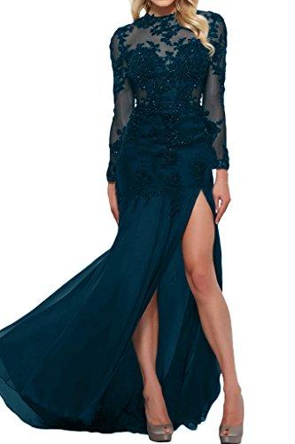 Victory Bridal Sexy Durchsichtig Spitze Abendkleider Ballkleider mit Langen Aermeln Meerjungfrau Still lang Dunkel Blau