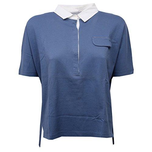 D1414 polo donna FABIANA FILIPPI maglia blue polo t-shirt woman Blu