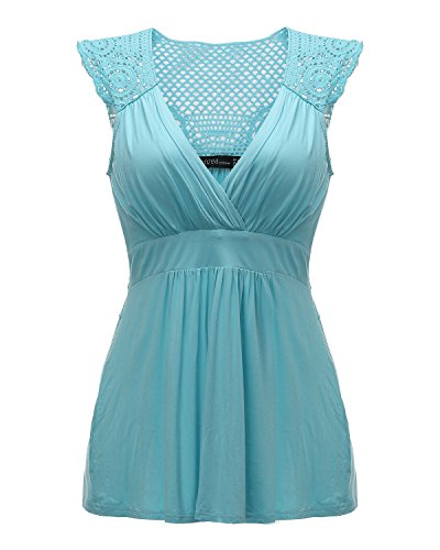 ZANZEA Damen V-Ausschnitt Hohl Ärmellose Party Club Cocktail Bluse Tanktops Shirt Blau