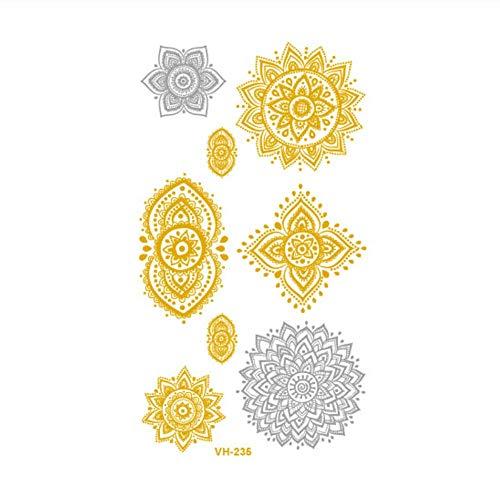 Sdefgh adesivo tatuaggio decorazioni per bambini ragazzi ragazzi piccole dimensioni oro e argento temporaneo s, metallico lucido oro flash corpo farfalla fiore w