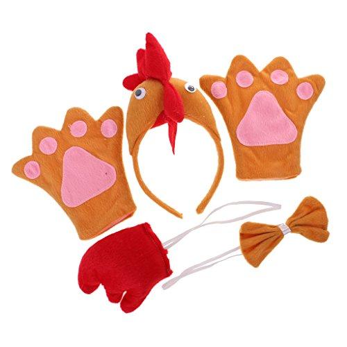 Gazechimp Halloween Huhn Kostüm Zubehör Set (Stirnband + Fliege + Schwanz + Handschuhe) - Orange, Kinder