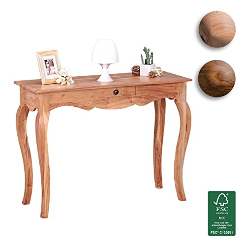 FineBuy-Konsolentisch-Massivholz-Akazie-Konsole-mit-1-Schublade-Schreibtisch-100-x-40-cm-Landhaus-Stil-Sideboard-Modern-Massiv-dunkel-braun-Echt-holz-Natur-Anrichte-Konsole-Sekretr-Tisch-Flur