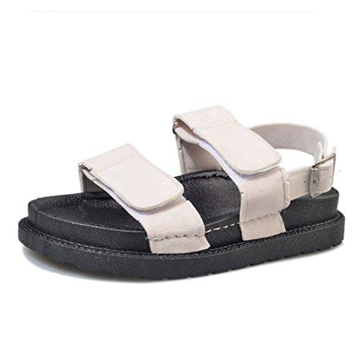 Damen Sandalen Flach Klettverschluss Einfach Klassisch Leicht Bequem Atmungsaktiv Sportlich Strand Urlaub Straße Schick Schuhe Weiß