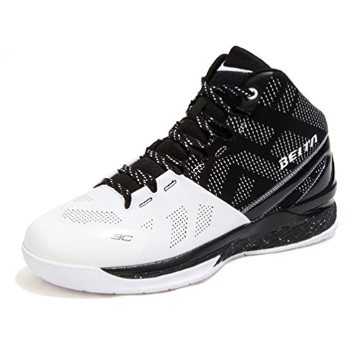 Homme Chaussure de Sport Basket-Ball athlétique Sneakers Chaussure de Course Running Trial Combat Confortable Waterproof antidérapant Noir Blanc 43
