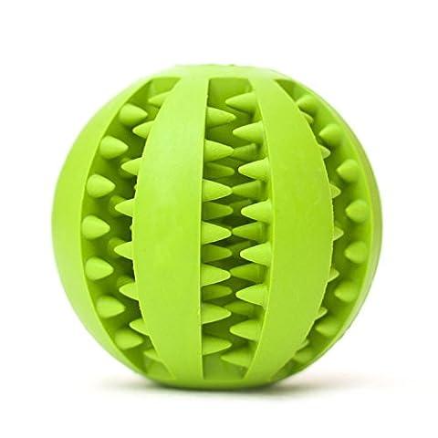 Newnet Balle jouet pour chien, boule de jouet résistant non toxique Bite pour chien chiot chat, nourriture pour chiens Treat Feeder dents animaux chien balle nettoyage des dents nettoyage Chew balle Pet Fictif Ballon d'entraînement Ball QI(vert)