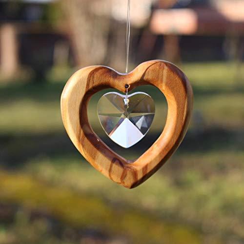 Fensterdeko Herz zum Aufhängen | Bleikristall mit Holz | Herzkristall | Regenbogenkristall | Sonnenfänger | Fenster Deko | Geschenkidee
