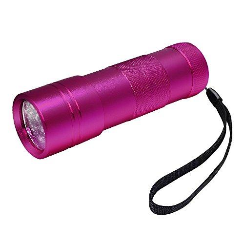 FiveRen UV Schwarzlicht Taschenlampe mit 12 LEDs | Haustiere Urin-Detektor für eingetrocknete Flecken Ihrer Hunde, Katzen und Nagetiere auf Teppichen, Vorhänge, Gardinen, Möbel und anderen Stoffen-Lila (Batterie nicht im Lieferumfang enthalten)