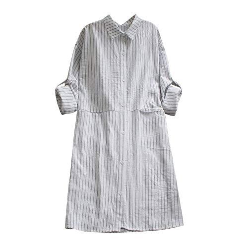 n Taschen Kleid Langarm Baumwolle Leinen Striped Casual Kleider Damen Langarm Lose Bluse Hemd Shirt Oversize Bluse Blusen Tops Streetwear Langer Abschnitt ()