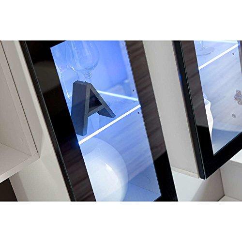 JUSThome VELVET Wohnwand Anbauwand Schrankwand (HxBxT): 180x270x45 cm Weiß Matt / Weiß Schwarz Hochglanz - 3