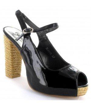 FARASION - Sandales femme compensées vernis noires - XL0612-1 Noir