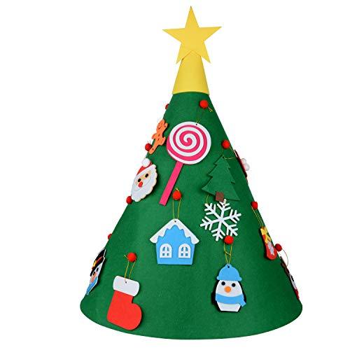 Belupai fai da te 3d albero di natale con 18pcs toddler amichevole albero di natale sospeso ornamenti per bambini regali di natale natale casa decorazioni