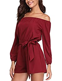 df7b242f7638 MISS MOLY Women s Sexy Off The Shoulder 3 4 Sleeve Playsuit Romper Jumpsuit  with Belt