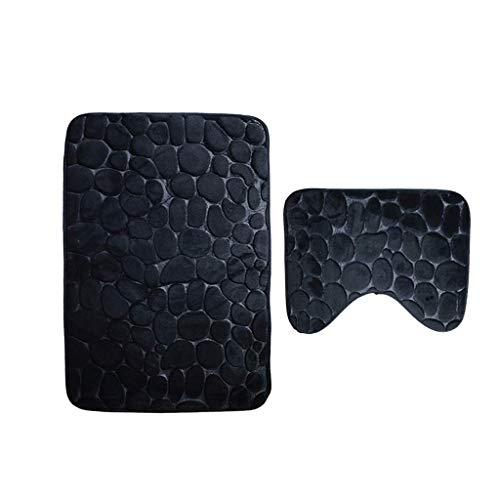 Black Bottom Mat (Toilette DREI Sätze Badematte Podestmatte Zweiteilige Bad Mat Flannel rutschfeste Wasseraufnahme Badezimmer Mat Bottom Base Pad (Color : Black))