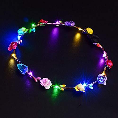 Jiobapiongxin LED Leucht Kranz Blume Krone Haarband Blume Haarschmuck Festival -