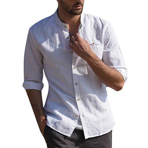 Beikoard Herren Leinenhemd Henley Sommer Hemd Männer Shirts Henley Langarm Business Hemd Männlichen Slim Fit Casual Solide Flachs Kleid Shirt Mann S-3XL Sexy Taste Top (Weiß, 3XL)