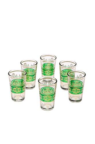 Orientalische verzierte Teegläser Set 6 Gläser Marrakesch Grün Gold | Marokkanische Tee Gläser Set 6 teilig Deko orientalisch | 6 x Orientalisches Marokkanisches Teeglas verziert | Farben Auswahl -