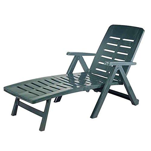 Liege mit hohem Liege- + Sitzkomfort Sonnenliege Gartenliege Relaxliege Saunaliege Kunststoff Grün 96x72x189cm