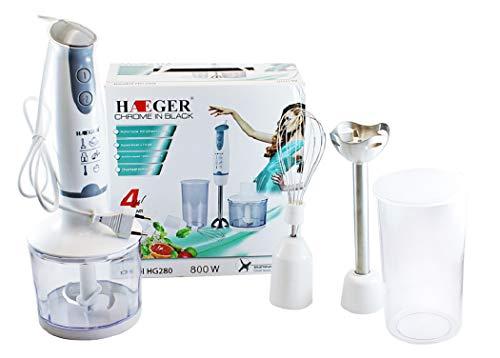 Lalia Stabmixer 5 teilig für Küchenmaschine Schneebesen, Zerkleinerer, Smoothies und Milchshakes schwarz/silber Mixer