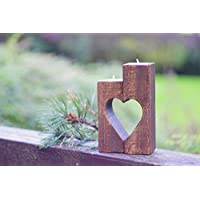 Rustic heart candle holder, wooden tea candle holder, reclaimed wood block candles, wedding table decorations, 5th wedding anniversary gift, mother in law gift, Mother's day gift for grandmother