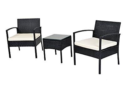 EBS® Polyrattan Gartenmöbel set Gartengarnitur Sitzgruppe Lounge Garnitur 1 Tisch 2 Stühle Weiß Sitzkissen von EBS auf Gartenmöbel von Du und Dein Garten