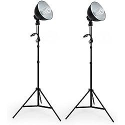 TecTake Kit completo estudio de la iluminación 5500K Foco para estudio fotográfico Reflector Foto Vídeo + 2x Trípode