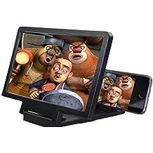 Universal teléfono móvil pantalla 3d lupa pantalla lupa ampliadora (, Smartphone para funda para teléfono, lupa 3d película pantalla de vídeo Amplificador proteger ojos con práctico teléfono soporte soporte plegable soporte para iPhone (negro)