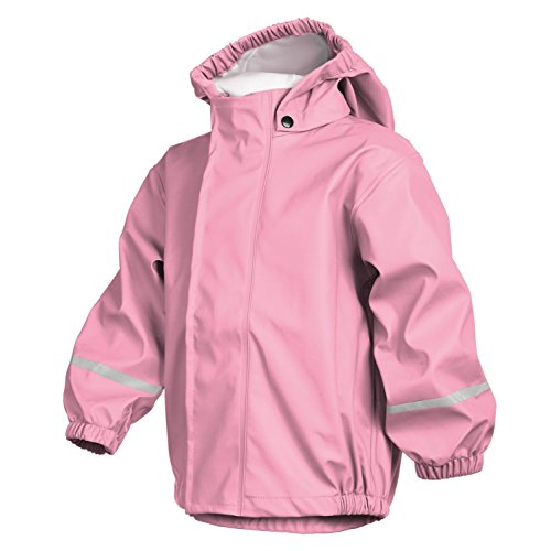smileBaby wasserdichte Kinder Regenjacke Regenmantel mit abnehmbarer Kapuze Unisex in Rosa 116