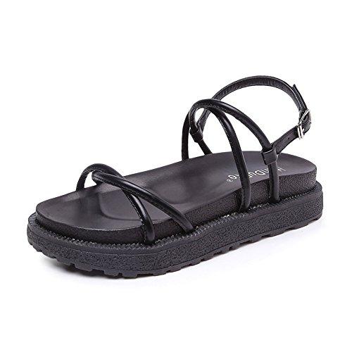 Sommer PU Strap römischen Stil einfache Wilde Damen Flache Sandalen Gemütlich (Color : Black, Size : 35) -