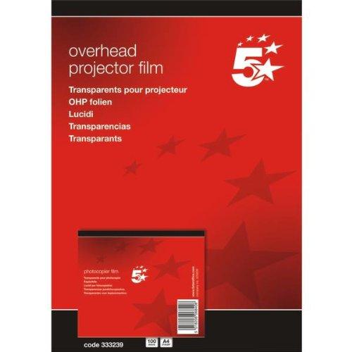 5 Star(TM) - Papel de impresión y fotocopia DIN A4 poliéster 0,10 mm (100 unidades) , color  transparente
