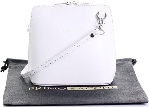 In pelle italiana, Small/Micro croce corpo borsa o borsetta borsa a tracolla.Include una custodia protettiva di marca. Bianco (bianco)