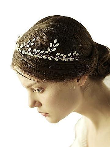 Déesse Doré Diadème–Mariage Cristal Blanc Accessoires Cheveux avec ruban