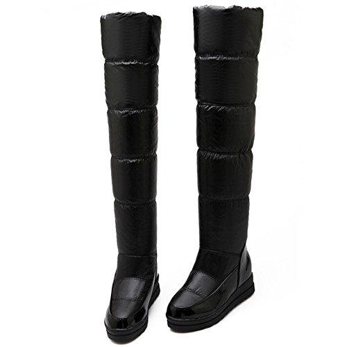 TAOFFEN Damen Winter Keilabsatz Flache Stiefel Warm Gefütterte Langschaft Stiefel Snow Boots Schwarz