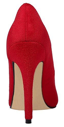 Guoar Große Größe High Heels Elegante Schuhe Samt Spitze Zehen Mehrfarbig Stiletto Pumps Party Rot