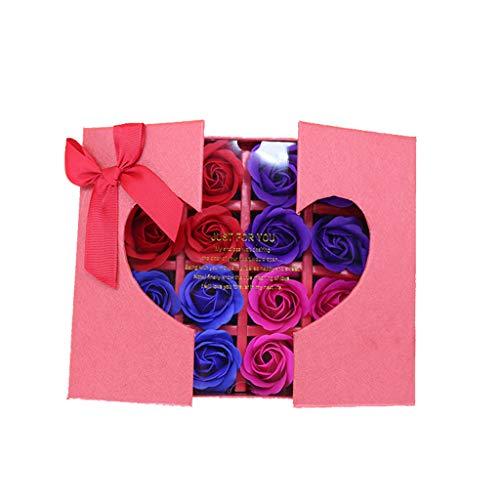 AMUSTER 6 Stücke Badeseife Rosen Seife Handgefertigt Rose Blume Rosen-Duftseifen in Geschenkbox Weihnachten Geburtstags Valentinstag Geschenk Verschiedene Farben (6pcs, Rot)