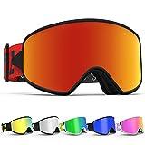 Skibrille ,COPOZZ G2 Ski Snowboard Brille Brillenträger Schneebrille Snowboardbrille Verspiegelt - Für Damen Herren Frauen Jungen - Magnet Schnell Austauschbaren Linsen - Black Weiß Schlechtwetter (MX Rot)