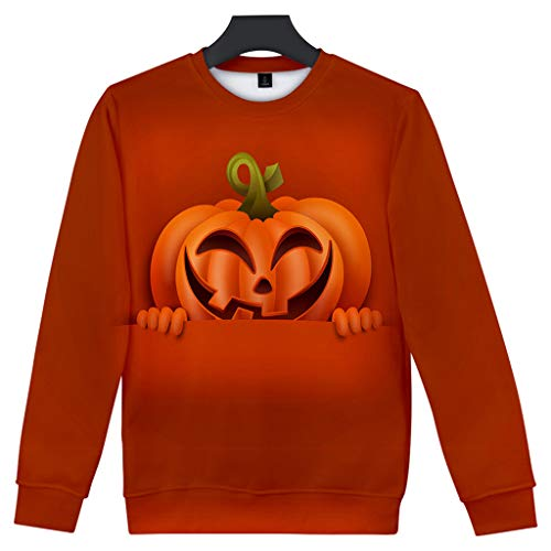 Feinny Herren Tops T-Shirt Jacke/Paar Mode Lässig Halloween Scary Element 3D Print Party Langarm Top Pullover Baseball Wear/Gelb/XS-4XL